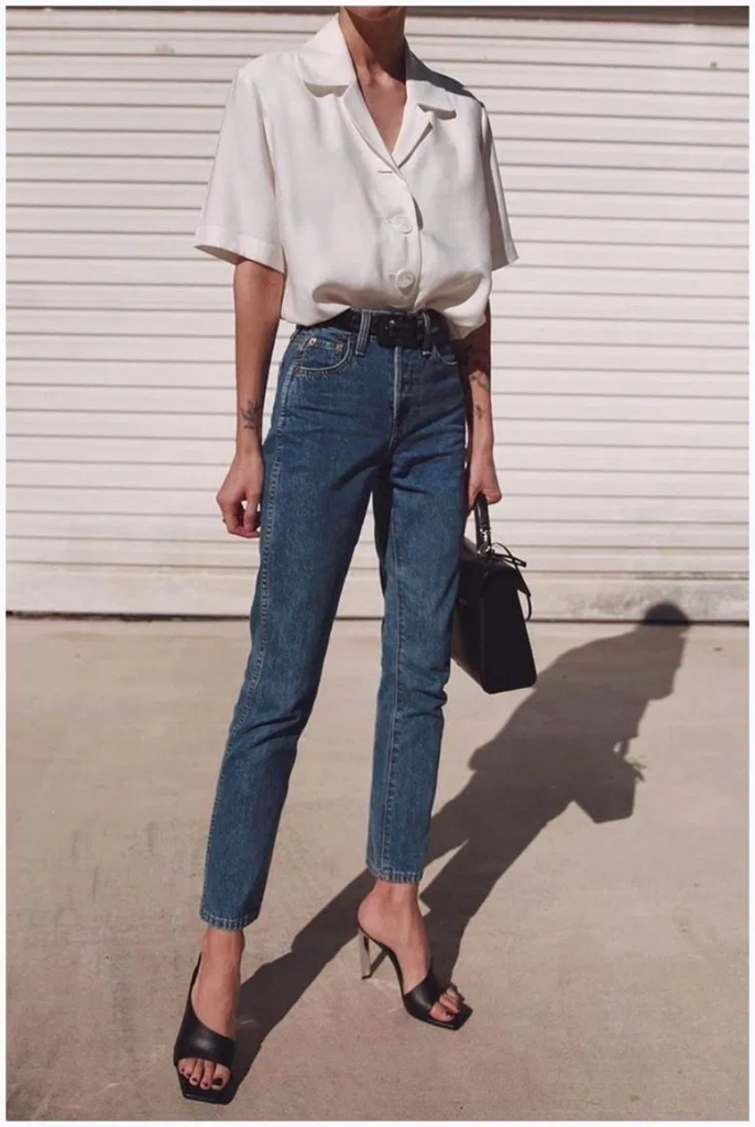 Closet essential 1: Denim jeans and white blouse