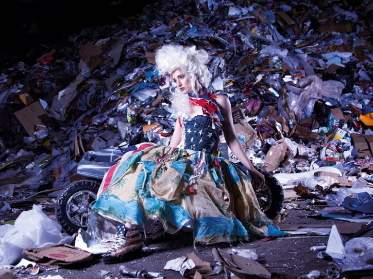 """Marina Debris is an Australian """"trashion"""" designer - transforming ocean and beach garbage into garments, showing the importance of fashion minimalism to combat this problem."""