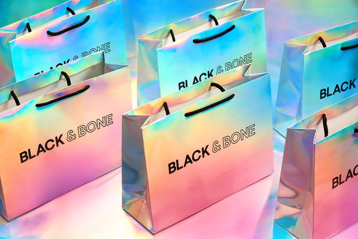 Although these holographic Black & Bone bags are cool-looking, they may not be sustainable packaging.